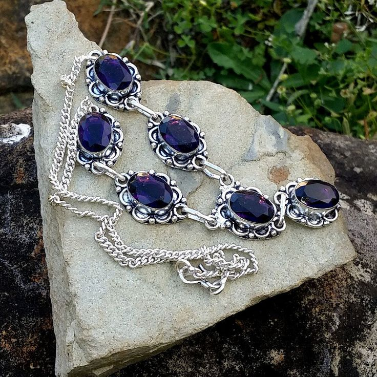 Hand Crafted Vintage Style Lab Created Amethyst Y Necklace with Chain