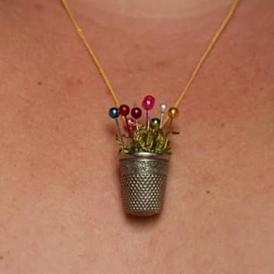 Thimble Necklace tutorial . . . older children could probably do this . .. Mother's Day gift :-)