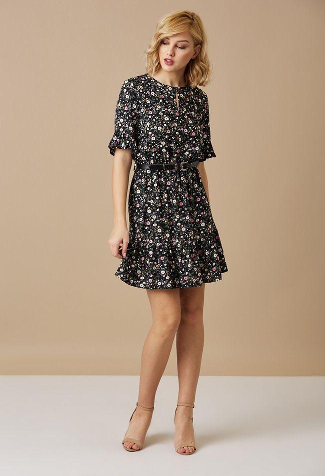 9907e552b5 Μίνι μαύρο φόρεμα με φλοράλ τύπωμα