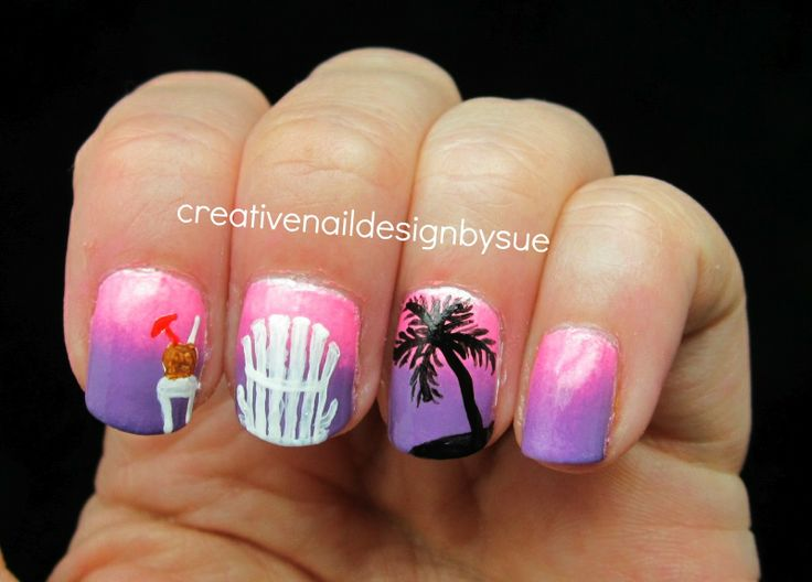 Creative Nail Design by Sue: Summer Challenge-Tropical Drinks