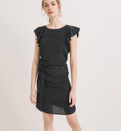 Šaty s volánky černý potisk - Promod