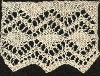 Knitted lace edging with diamond pattern Knitted Lace Edging Pinterest ...