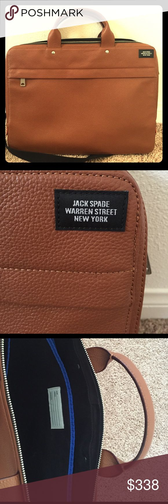 JACK SPADE Mason leather slim briefcase Brand new never been used JACK SPADE mason leather slim briefcase with black strap. Jack Spade Bags Briefcases