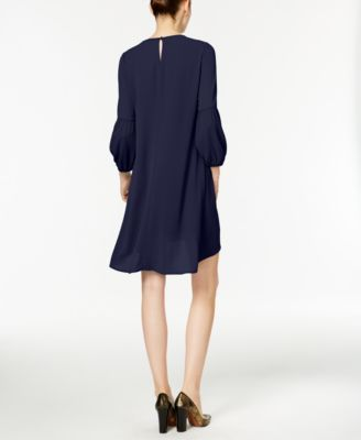 Ny Collection Petite High-Low Keyhole Shift Dress with Necklace - Blue P/XS