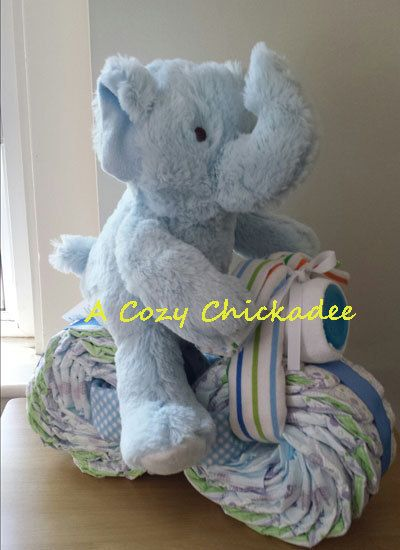 Elephant Motorcycle Baby Diaper Cake by ACozyChickadee on Etsy, $55.00