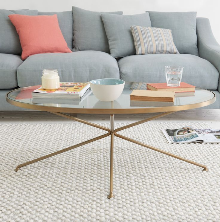 Loaf's glass-topped Keeper coffee table with a beautiful vintage brass frame in…