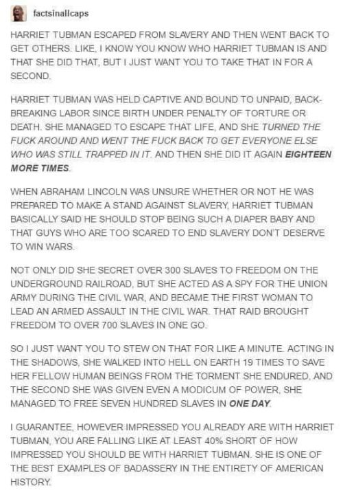 Harriet Tubman Deserves more than one fucking side of a U.S. money bill. God.