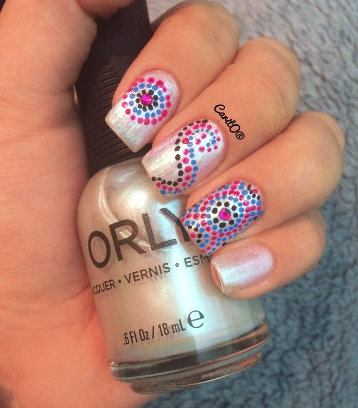 Orly dot nailart design, simple manicure, rockcandy nails, rinestones
