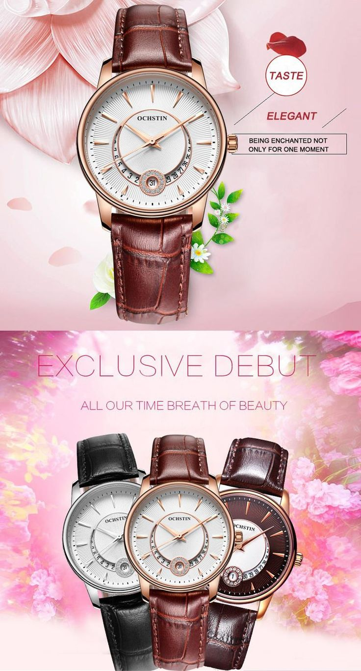 OCHSTIN LQ060 Fashion Rhinestones Women Quartz Watch Luxury Leather Strap Wrist Watch