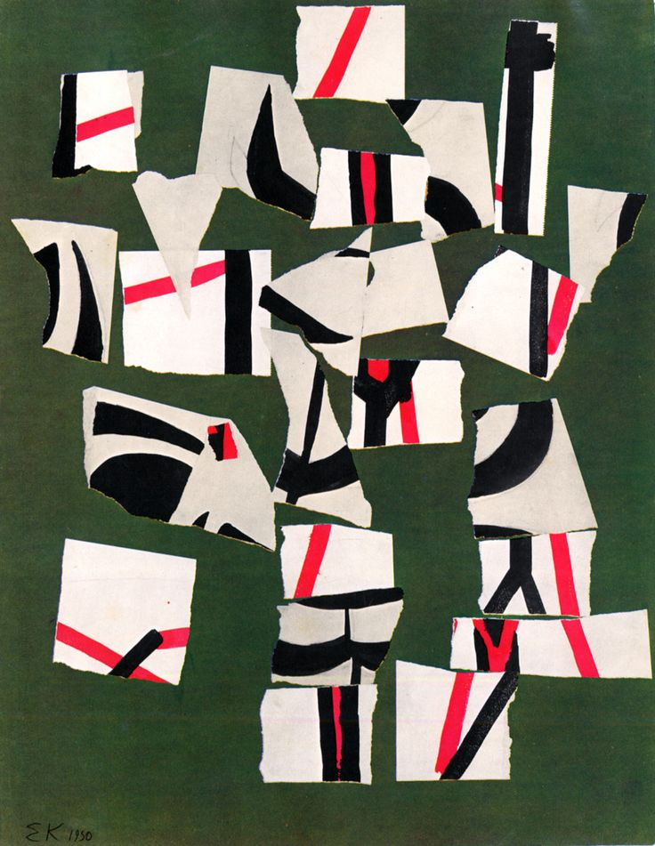"""archiveofaffinities: """" Ellsworth Kelly, Torn Drawing Rearranged by Chance, 1950 """""""