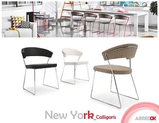 """#Sedia #NewYork #Calligaris perfetta per la zona giorno. La seduta risulta molto #confortevole grazie allo schienale #avvolgente e all'ampio sedile, entrambi imbottiti e rivestiti in """"Gummy"""": un tessuto sintetico morbido e liscio al tatto, molto pratico perché facile da #pulire. La struttura a slitta in metallo poggia su piedini in gomma trasparente.  http://arredok.com/sedia-new-york-calligaris.html - presso www.arredok.com"""