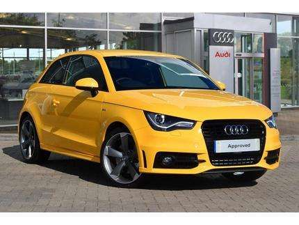 used 2014 64 reg imola yellow metallic audi a1 1 4 tfsi 185 black edition 3dr s tronic for. Black Bedroom Furniture Sets. Home Design Ideas