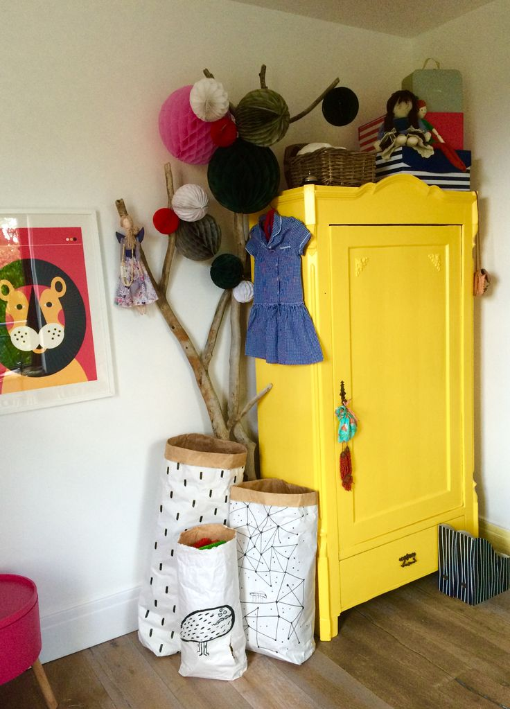 Vintage wardrobe in a kids room