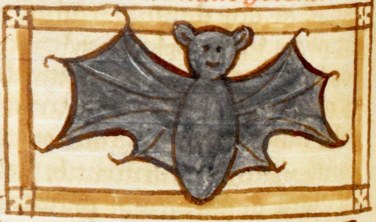smiling bat Bestiary/Liber de natura bestiarum, England after 1236. British Library, Harley 3244, fol. 55v