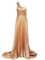 Artwedding One Shoulder Pleated Column Formal Evening Taffeta Dress with Sweep Train,Gold