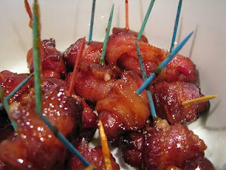 Bacon Wrapped Cocktail Weenies with brown sugar. So good and better than boring bbq weenies!