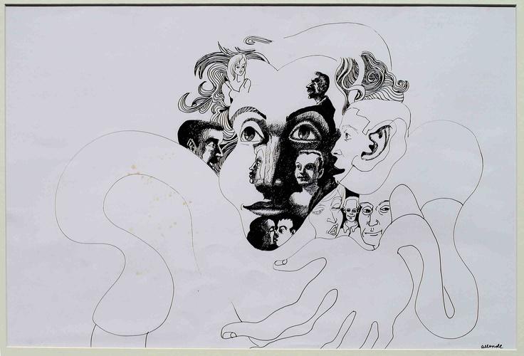 """Fernando Allende Bellido, """"Retrato"""", tinta sobre papel."""
