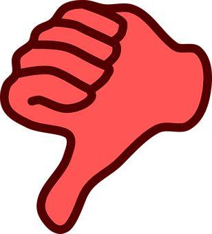 Dislike, Hand, Thumb, Down, No, Red