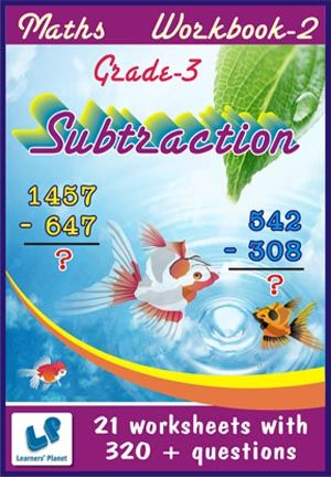 GRADE-3-MATH-SUBTRACTION-WORKBOOK-2 This workbook contains printable worksheets on Subtraction for grade-3 students.  There are total-21 worksheets with 320 + questions.  Pattern of questions : Vertical Subtraction with picture.    PRICE :- RS.149.00