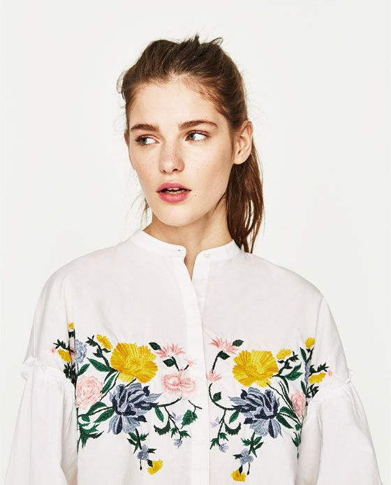 Image 2 of FLORAL EMBROIDERED SHIRT from Zara