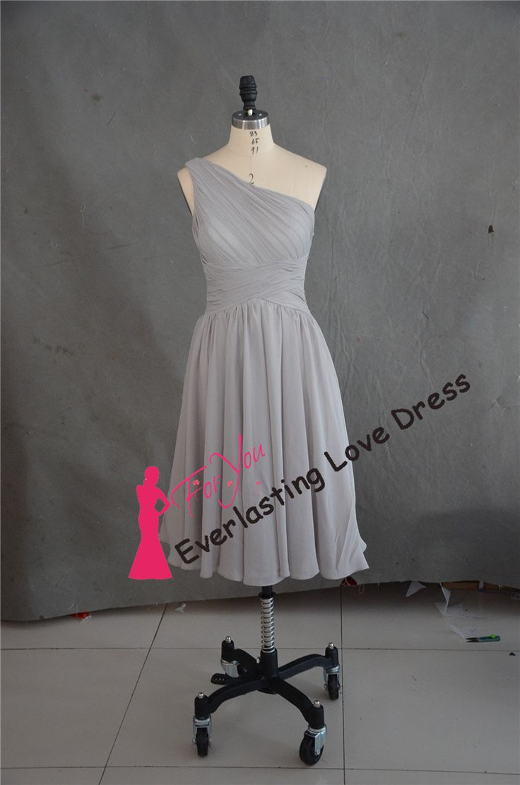 One Shoulder Ruched Bodice Knee Length Grey Chiffon Homecoming Dress Fit For Wedding Party Gown And Bridesmaid Dresses Party Gowns by Everlastinglovedress on Etsy