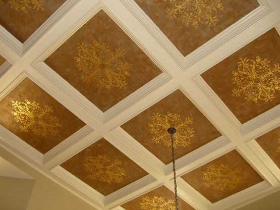 Coffered ceiling stenciled by Lauren Gaines with gold leaf using a Modello™ Designs vinyl stencil.