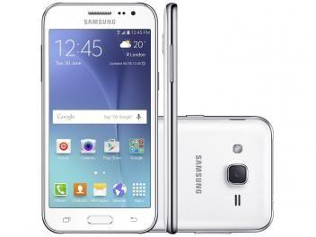 "Smartphone Samsung Galaxy J2 Duos 8GB Branco - Dual Chip 4G Câm 5MP Tela 4.7"" Desbl. Oi"