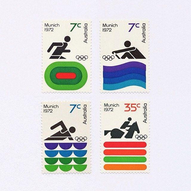 Munich 1972 Olympics. Australia, 1972. Design: Brian Sadgrove #mnh #graphilately