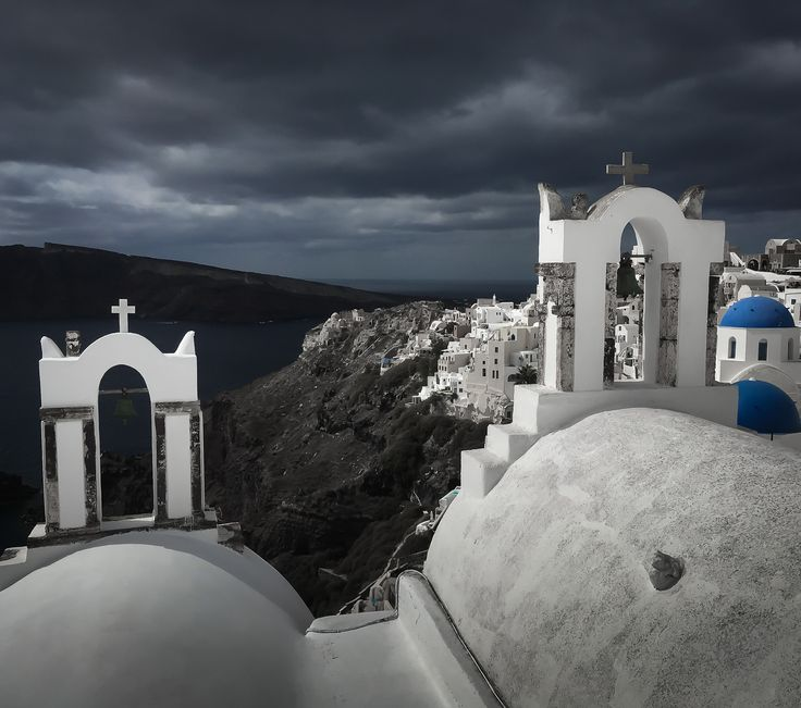 Silent significant sentinels stare bravely at brooding skies... #Santorini #Greece #church #dome #orthodox #photo #phototour #Thera #blue #iphone #architecture  #wishyouwerehere #phonetography #phonetographytour #Thera #discoverGreece #I_love_Greece #island_life #summer #shotwithiphone #phone #instagraphy #bucketlist #mobile #instapic #landscape #travelphotography #alliteration