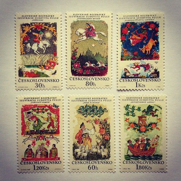 Fairy Tales, Czechoslovakia (1968). Illustration by Ludovit Fulla. #ceskoslovensko #czechoslovakia #fairy #tales #stories #legends #rozpravky #fairytales #folklore #literature #slovak #slovakia #stamps #timbres #collecting #collection #illustration #ludovitfulla #ludovit #fulla #ilustracie #ilustracja #slovenske