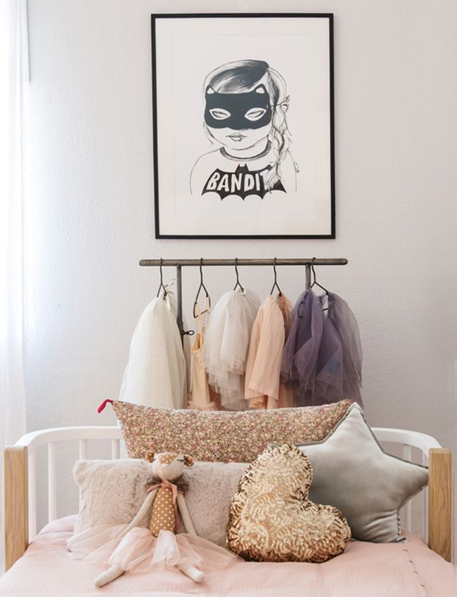 Girls bedroom styling print artwork, tutus and Numero 74 cushions from the home of Cuckoo Little Lifestyle