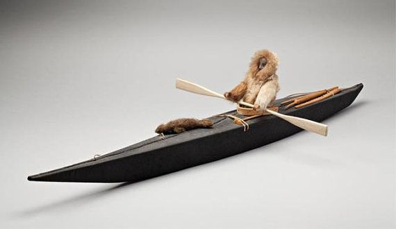 Art - Inuit (Eskimo) Description :  Eastern Canadian Arctic Model Kayak ca. 1960s, 8 x 39 x 16 in