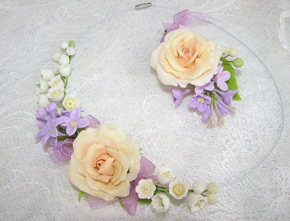 Amazing necklace with a large peach rose, lilies of the valley, twigs of lilac, decorated with delicate silk ribbon. $45.00 AUD
