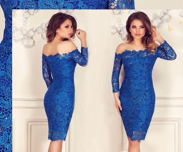 Blue off-shoulder lace dress with sequins embroidery: https://missgrey.org/en/dresses/lace-evening-dress-with-sequins-embroidery-in-royal-blue-shades-zaira/457?utm_campaign=decembrie&utm_medium=rochie_zaira_albastra&utm_source=pinterest_produs