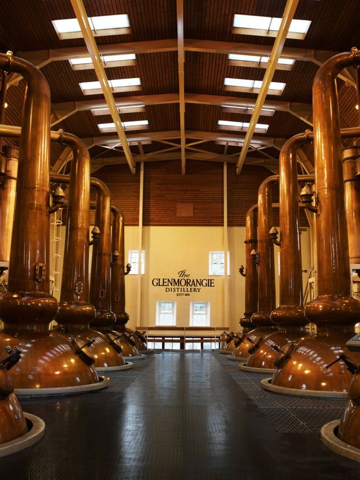 Glenmorangie Distillery, Scotland - based half a mile from Tain. Click the picture to book an in-depth whisky tasting with our WHISKI experts - learn more about stills! #copper #stills #whisky #distillation