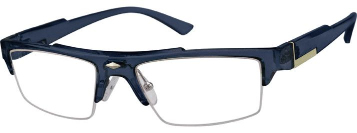 Zenni Optical Blue Glasses : Half-Rim Eyeglasses 250716