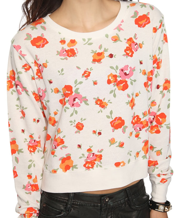 A cute way to jazz up a sweatshirt and shorts for the summer.: Terry O'Neil, Pullover Forever, Fashion, Style, Floral French, Terry Pullover, Shorts, Sweatshirts, French Terry