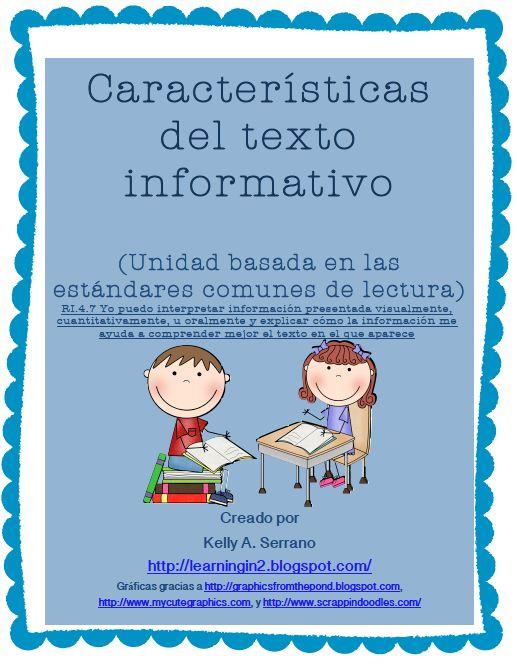 El aprendizaje en dos idiomas: No Ficción Características del texto Unidad (Español) / Características de Textos informativos