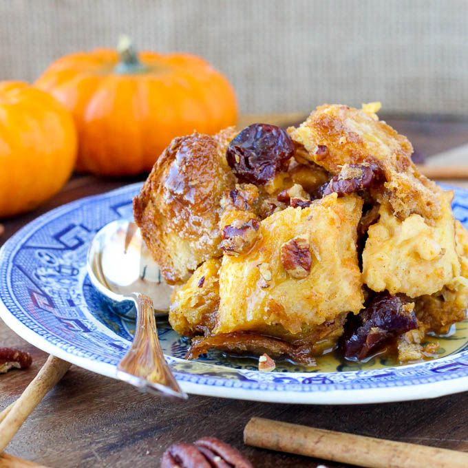 Don't miss this Pumpkin Bread Pudding studded with Bourbon-soaked dried cherries and topped with a rich Maple Bourbon Sauce!