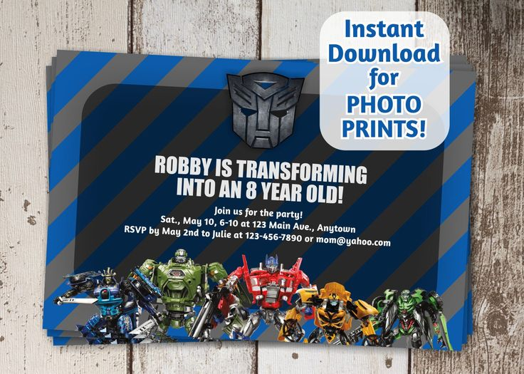 Transformers Autobots Birthday Party Invitation - Instant file download - Can use to order photo prints! (printable on card stock, too!) by InstantInvitation on Etsy https://www.etsy.com/listing/226151799/transformers-autobots-birthday-party