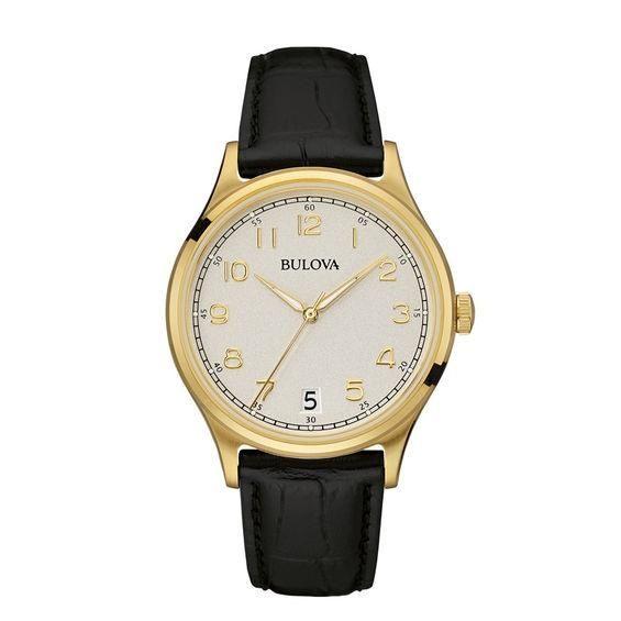 a2da39a3568  Zales -  Bulova Men s Bulova Classic Gold-Tone Strap Watch with Grey Dial