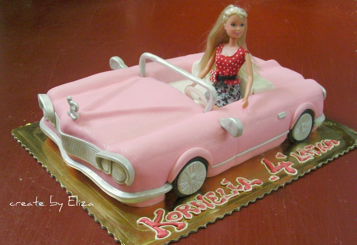 Barbie car cake. My Barbie had a car just like this one