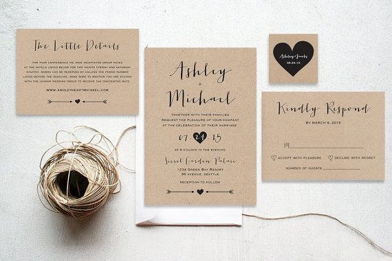 The Pearl Suite - Printable wedding invitation suite, Minimalist wedding, Kraft paper rustic garden wedding invitation calligraphy.