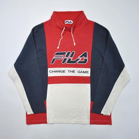 7983f324e6 Rare Vintage 90s FILA Change Game Sweatshirt / FILA Pullover / Retro Fila  Sweater / Fila Italia Pull Over / Fila Big Logo / Streetwear Swag