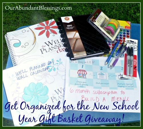 Get organized for the new school year gift basket giveaway from Our Abundant Blessings @LaurieBostwick