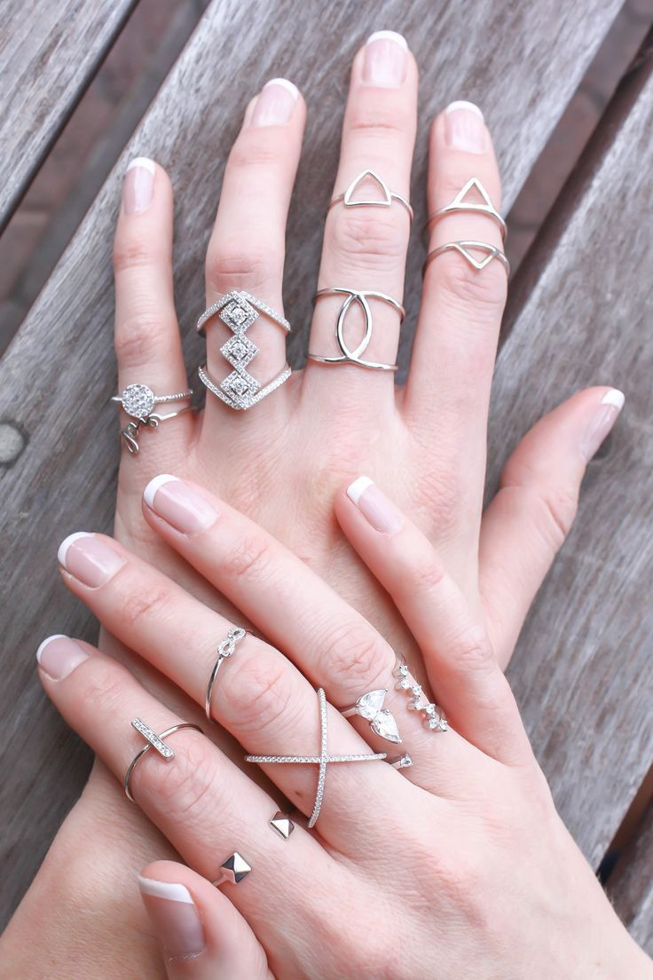 mix of delicate silver rings