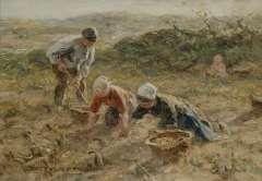 Zoetelief Tromp J., Aardappels rooien in de duinen bij Katwijk, olie op doek 25,5 x 35,3 cm.
