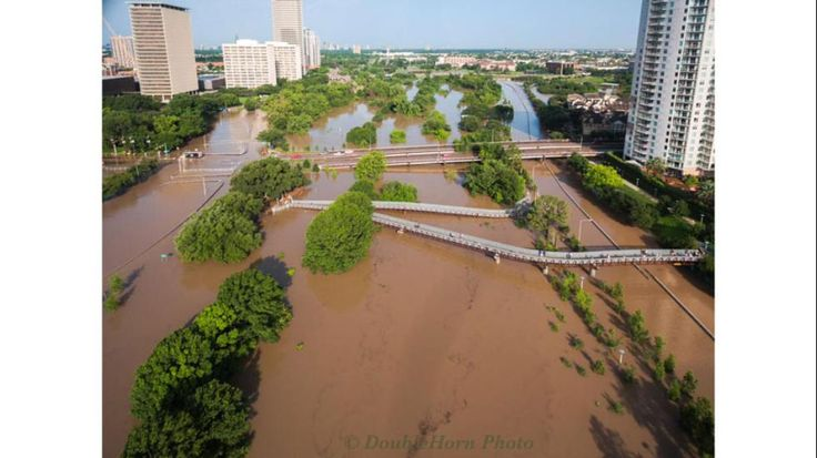 The Houston Flood Nightmare - May 25, 2015. Floodwaters swamping everything, as far as the eye can see.