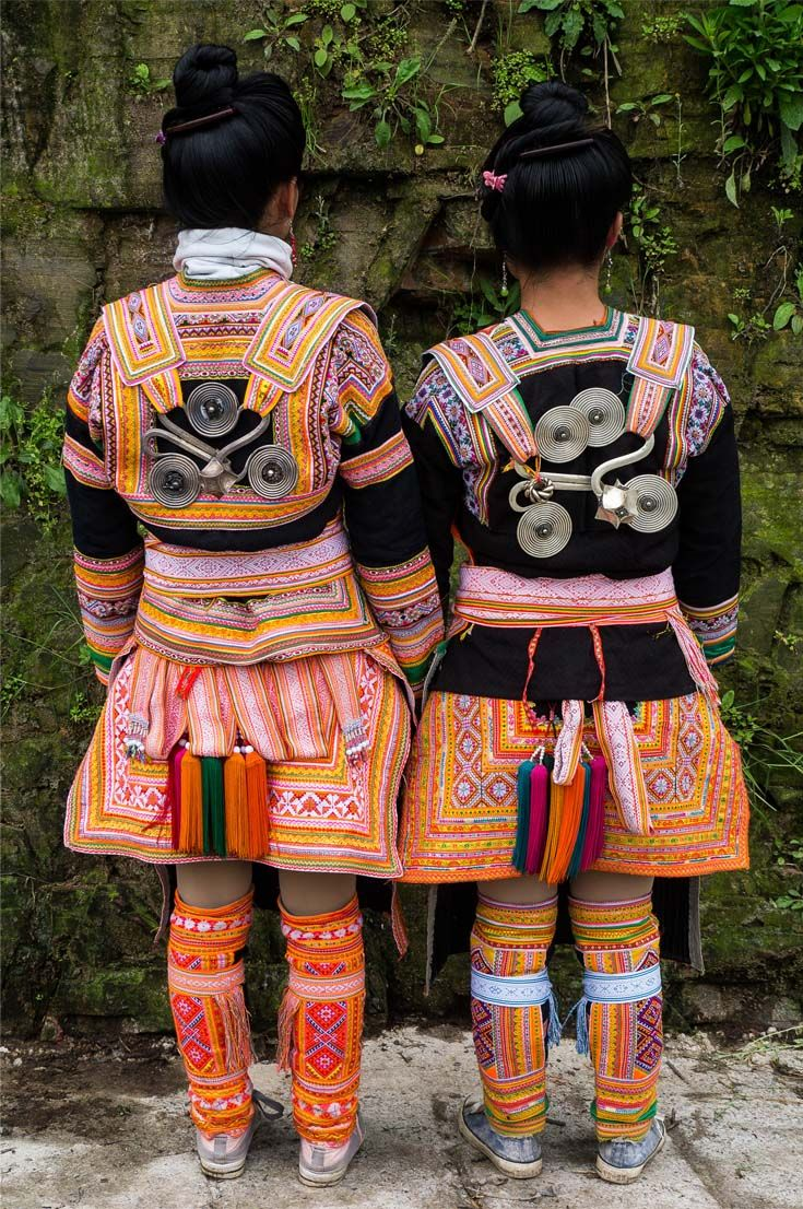 China | Back details of the traditional Kazhai (Maio) style costume.  Kazhai village, Guizhou