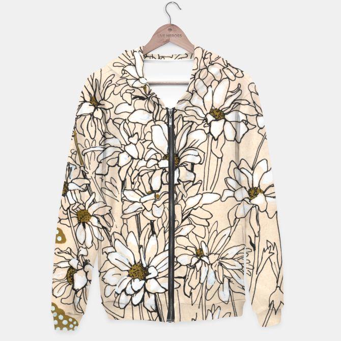 Chrysanthemum Cotton zip up hoodie Daisy Chrysanthemum Floral design, bouquet of white chrysanthemum.  © Clipso-Callipso /Julia Khoroshikh   #flowers #chrysanthemum #daisy #daisies #naturelovers #gardenflowers #botanical #botanicalart #botanicaldesign #floral #floralart #floraldesign #floralsketch #floralprint #modernfloral #artprint #clipsocallipso #apparel